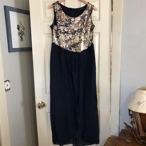 NWOTs Navy Sequins high/low Dress